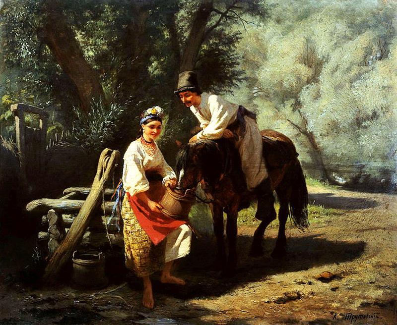 """""""Сцена біля колодязя"""", 1883 р. художник К.О. Трутовський"""