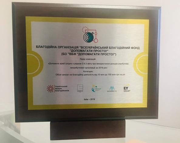 Благодійний фонд ПриватБанку здобув відзнаку Національного рейтингу благодійників 2019